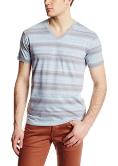 Lucky Brand Men's Stripe V Neck Shirt Blue