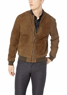 Lucky Brand Men's Suede Leather Bomber Jacket  L