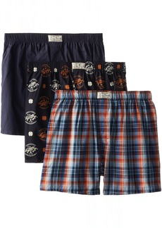 Lucky Brand Men's Three-Pack Woven Boxers Plaid Blue Nights Print
