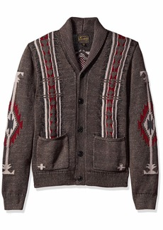 Lucky Brand Men's Washed Navajo Cardigan Sweater  S
