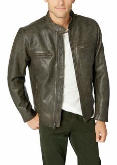 Lucky Brand Men's Zip Front Bonneville Leather Jacket  S