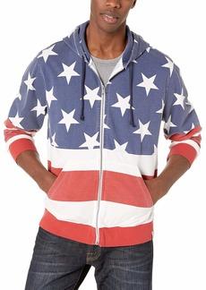 Lucky Brand Men's Zip UP Americana Hooded Sweatshirt  L