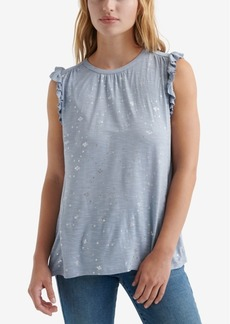 Lucky Brand Metallic-Print Ruffled Top