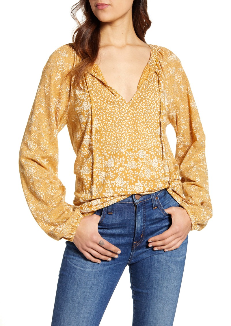 Lucky Brand Mix Floral Print Cotton Blend Peasant Top