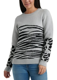 Lucky Brand Mixed Animal-Print Sweater