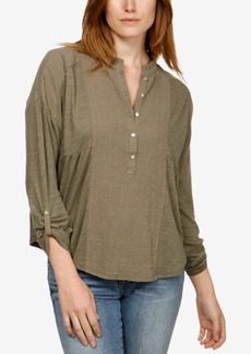Lucky Brand Mixed-Media Henley Top