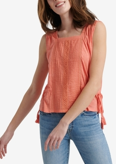 Lucky Brand Mixed Media Tie Top
