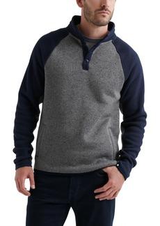 Lucky Brand Mne's Shearless Fleece Colorblock Mockneck Henley Sweatshirt