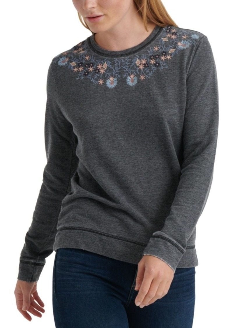 Lucky Brand Necklace Embroidered Sweatshirt