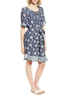 Lucky Brand Nora Floral Print Ruffle Hem Dress