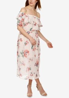 Lucky Brand Off-The-Shoulder Flounce Midi Dress