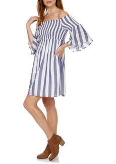 Lucky Brand Off-the-Shoulder Smocked Cotton Dress
