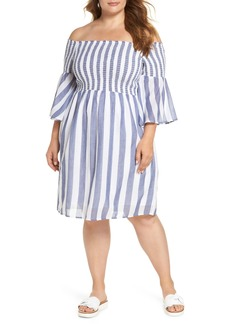 Lucky Brand Off the Shoulder Stripe Smocked Dress (Plus Size)