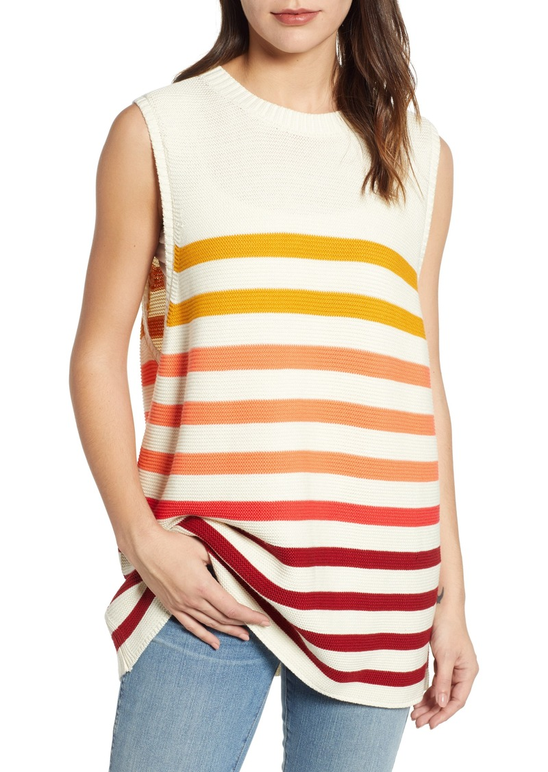 Lucky Brand Ombré Stripe Linen Blend Sweater Shell