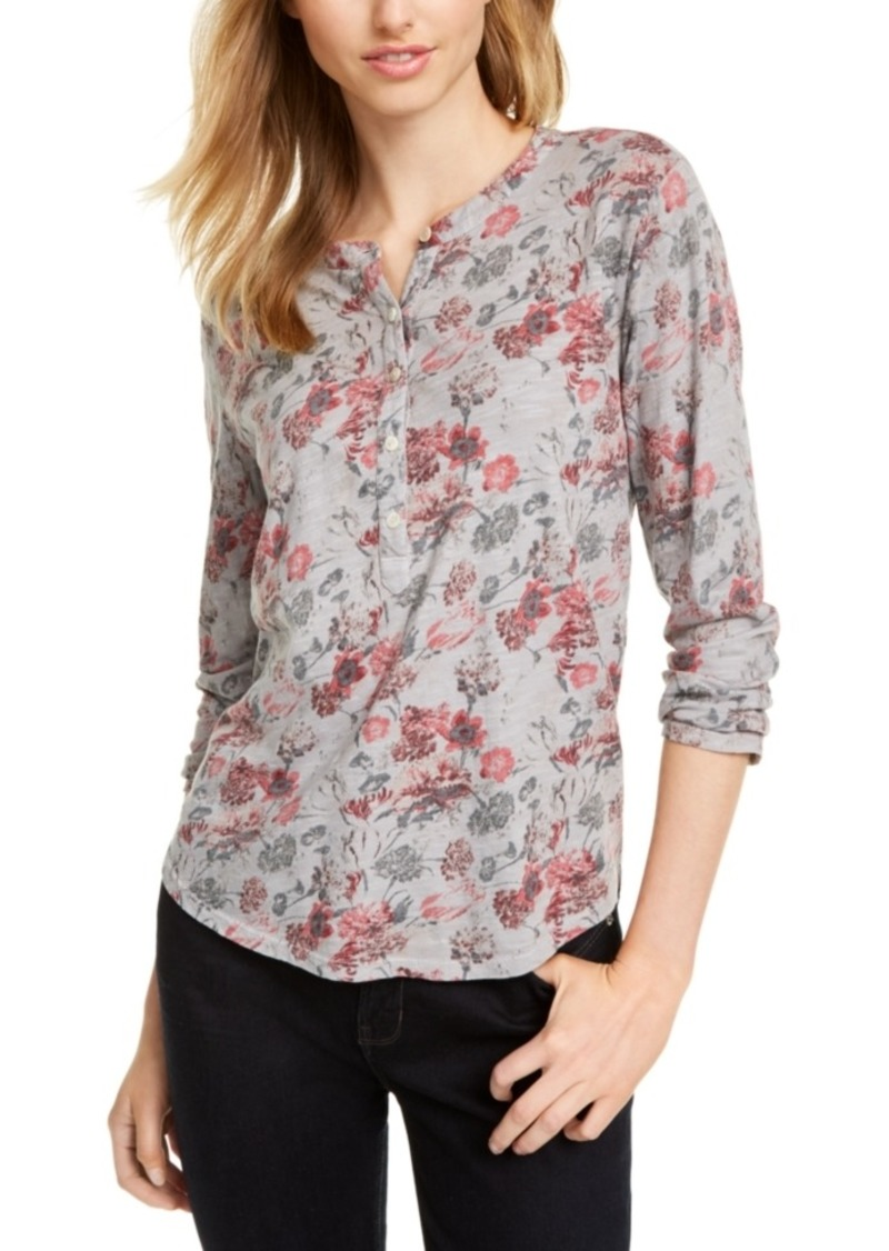 Lucky Brand Faded Floral Henley