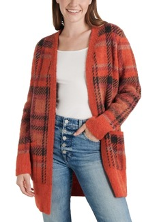 Lucky Brand Oversized Plaid Knit Cardigan