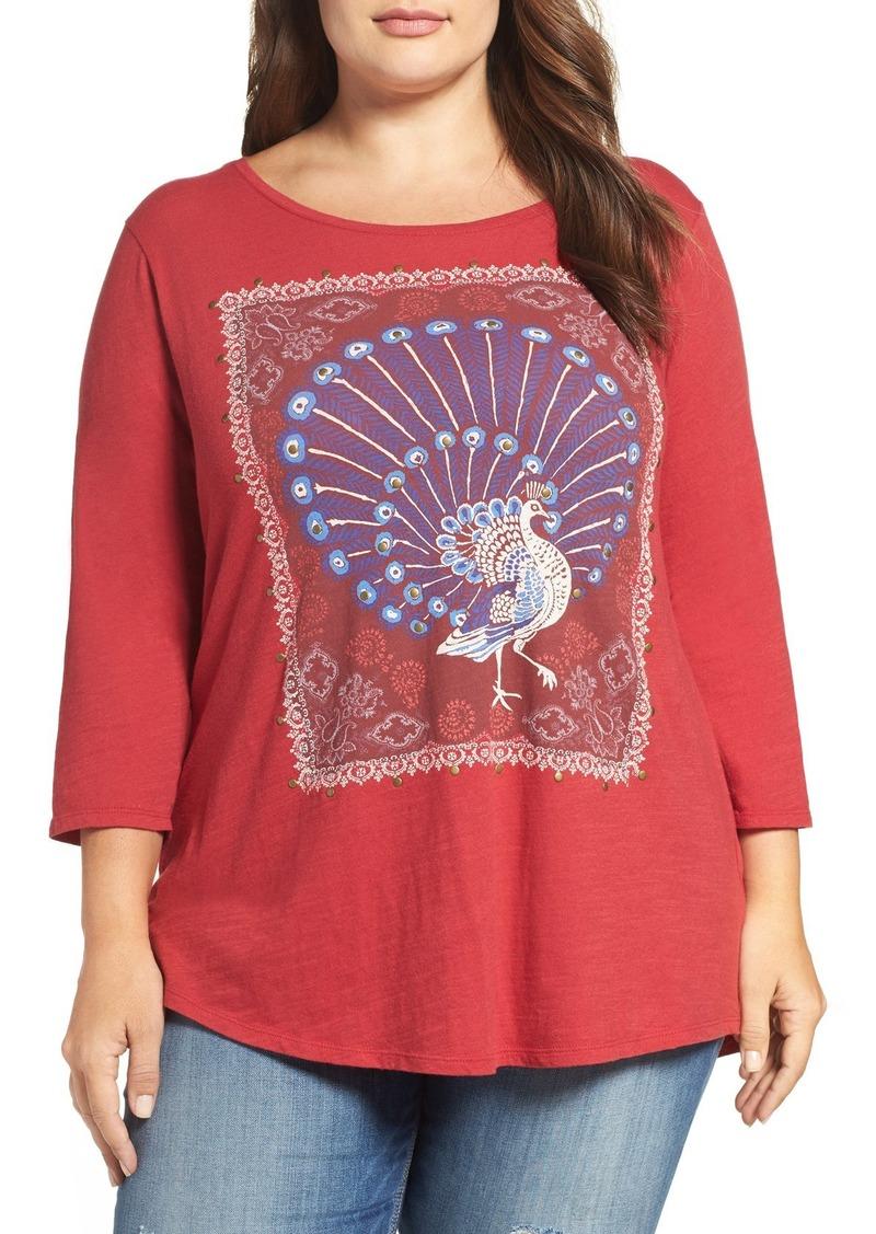 Lucky Brand Peacock Rug Print Tee (Plus Size)