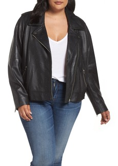 Lucky Brand Pin Dot Leather Moto Jacket (Plus Size)