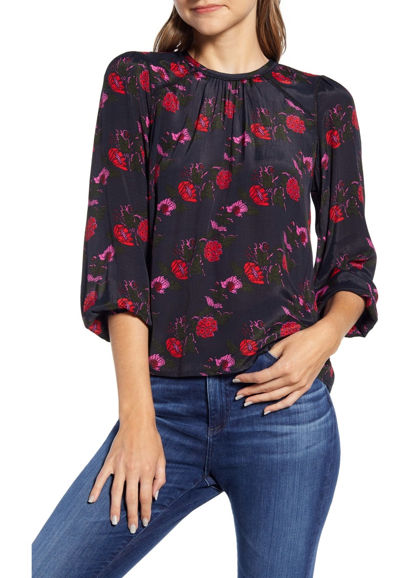 Lucky Brand Piper Floral Popover Top