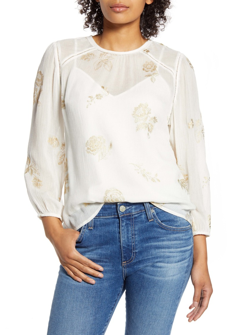 Lucky Brand Piper Metallic Floral Popover Top