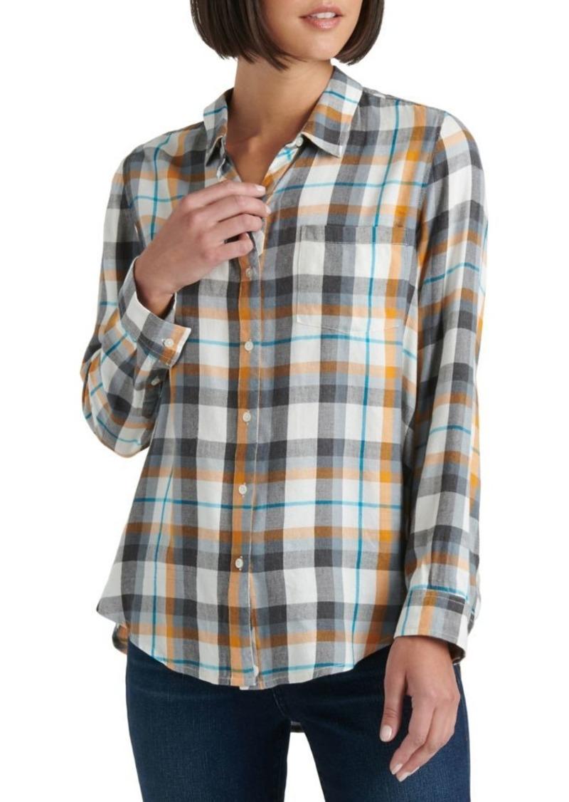 Lucky Brand Plaid Long-Sleeve Cotton-Blend Shirt