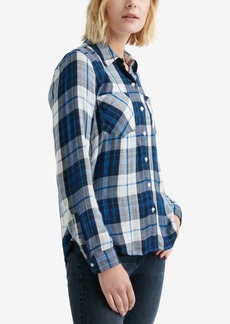 Lucky Brand Pleat-Back Plaid Top