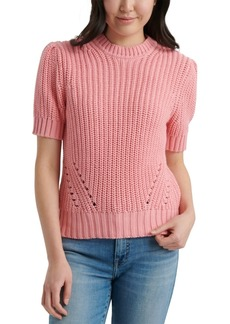 Lucky Brand Pleated Short-Sleeve Sweater