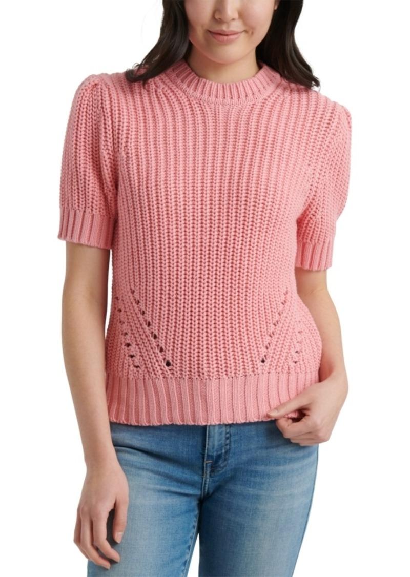 Lucky Brand Pleated Short-Sleeve Sweater