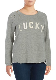 Lucky Brand Plus Distressed Graphic Sweatshirt