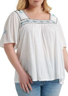 Lucky Brand Plus Embroidered Cotton Blend Blouse