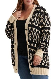 Lucky Brand Plus Fair Isle Buttoned Cardigan