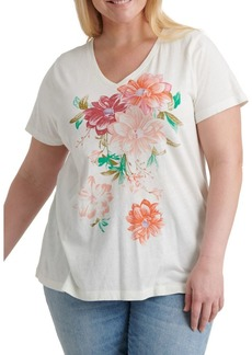 Lucky Brand Plus Plus Floral Bouquet V-Neck Tee