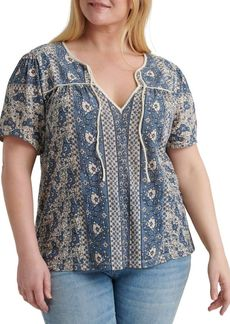 Lucky Brand Plus Printed Tie-Neck Top