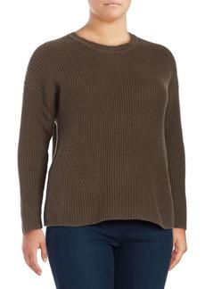 Lucky Brand Plus Ribbed Cotton Sweatshirt