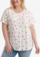 Lucky Brand Plus Size Cotton All Over Star-Print T-Shirt