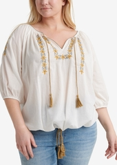 Lucky Brand Plus Size Cotton Embroidered Kelly Peasant Top
