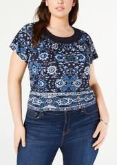 Lucky Brand Plus Size Crochet Short Sleeve T-Shirt