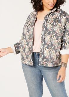 Lucky Brand Plus Size Floral-Print Denim Jacket