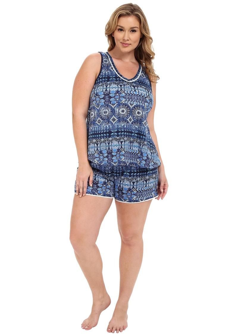 Lucky Brand Plus Size Knit Shorty Set