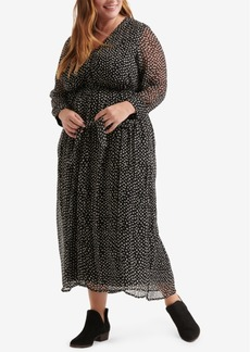 Lucky Brand Plus Size Polka-Dot Maxi Dress