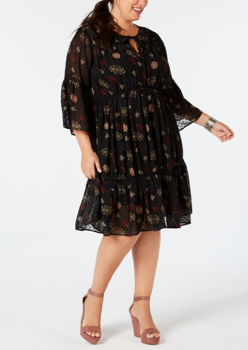 Lucky Brand Plus Size Printed Dotted-Swiss Dress