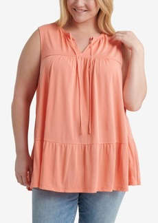 Lucky Brand Plus Size Sandwash Ruffled Top