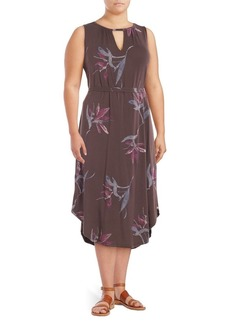 Lucky Brand Plus Sleeveless Printed Keyhole Dress