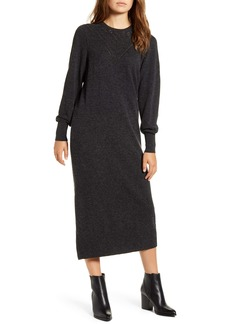 Lucky Brand Pointelle Yoke Long Sleeve Cotton Midi Sweater Dress