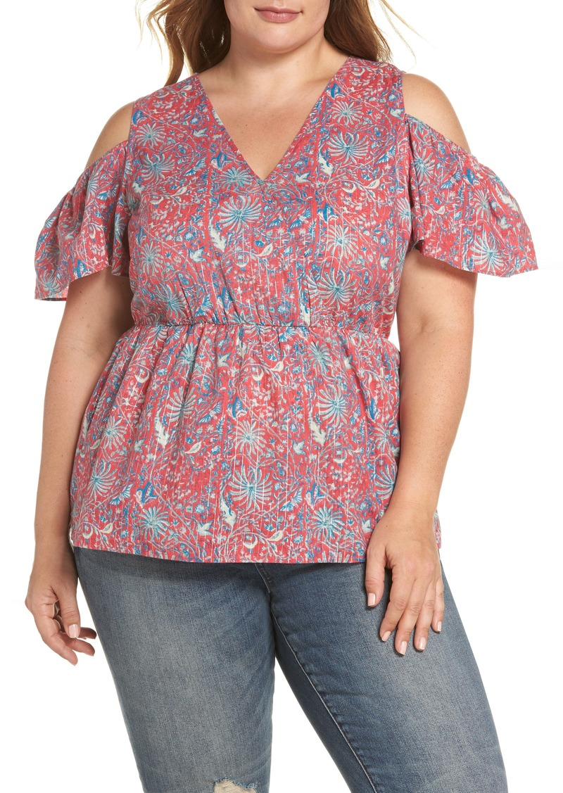 4dd3d5bba6a751 Lucky Brand Lucky Brand Print Cold Shoulder Top (Plus Size)