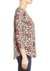 Lucky Brand Print Pintuck Top