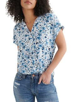 Lucky Brand Print Tie Front Shirt