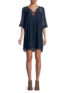 Lucky Brand Printed Chiffon Tassel Shift Dress