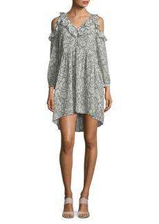 Lucky Brand Printed Cold-Shoulder Dress