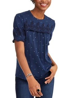 Lucky Brand Printed Embroidered Top